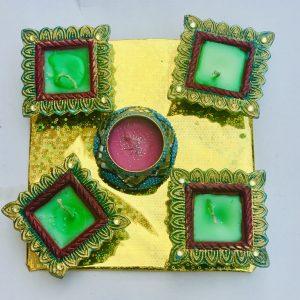 Multicolored Clay Diya Candles Set of 5