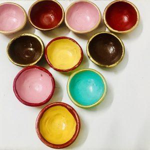 Plain Multicolored Clay Diyas Set of 10