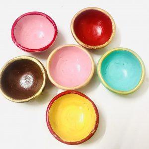Plain Multicolored Clay Diyas Set of 6