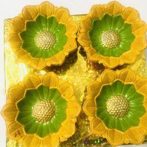 Sunflower Handpainted Clay Diyas Set of 4