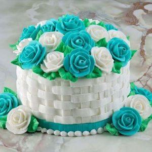 Vanilla Basket Floral Cake