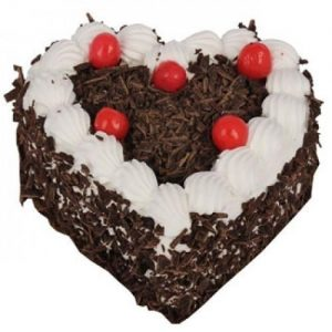 Heart Shape Choco Chips Black Forest Cake