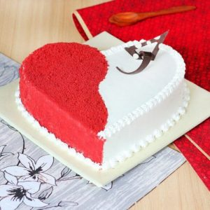 Tempting Heart Shape White Forest Cake